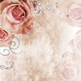 Beautiful  wedding background with roses and pearls Royalty Free Stock Images