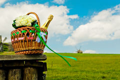 Beautiful wedding basket on picnic Royalty Free Stock Photography