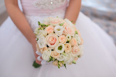 Beautiful wedding bouquet close-up. Wedding bouquet in bride hand Royalty Free Stock Photos