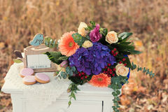 Beautiful wedding bouquet of colorful flowers, decorations, preparing for the wedding Stock Photography