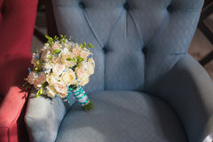 Beautiful wedding bouquet of colorful flowers, decorations, preparing for the wedding Royalty Free Stock Photo