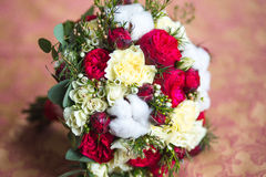 Beautiful wedding bouquet. Of different flowers with cotton Royalty Free Stock Images