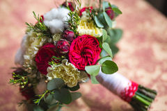 Beautiful wedding bouquet. Of different flowers with cotton Royalty Free Stock Photography