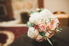 Beautiful wedding bouquet with different flowers, roses Stock Photography