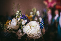 Beautiful wedding bouquet of different white, blue, green Royalty Free Stock Photo