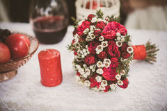 Beautiful wedding bouquet of flowers on festive table Royalty Free Stock Photography