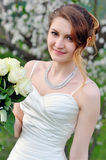 Beautiful wedding bouquet of flowers in hands the bride Royalty Free Stock Images