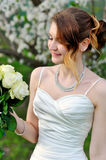 Beautiful wedding bouquet of flowers in hands the bride Royalty Free Stock Photography
