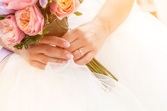 Beautiful wedding bouquet, french manicure Royalty Free Stock Images