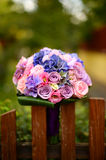 Beautiful wedding bouquet in the garden Stock Photo