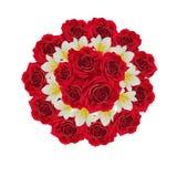 Beautiful wedding bouquet isolated on white. Red roses and white flowers isolated on white stock image