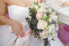 Beautiful wedding bouquet. Nice wedding bouquet in bride's hand Stock Images