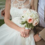 Beautiful wedding bouquet of paeonies Royalty Free Stock Photo