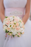 Beautiful wedding bouquet with pink roses. Close up Royalty Free Stock Photo