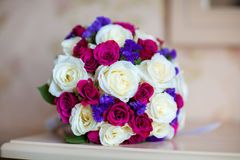 Beautiful wedding bouquet of pink and white roses. Bridal bouquet. Wedding bouquet of pink and white roses Stock Photos