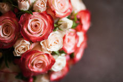 Beautiful wedding bouquet of pink and white roses, selective focus Royalty Free Stock Photography