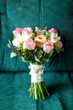 Beautiful wedding bouquet of pink and white roses, tulips Royalty Free Stock Photo
