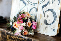 Beautiful wedding bouquet of pink and white roses, tulips. Wedding bouquet of pink and white roses, tulips Royalty Free Stock Images