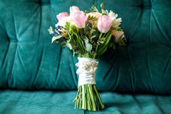 Beautiful wedding bouquet of pink and white roses, tulips Stock Image