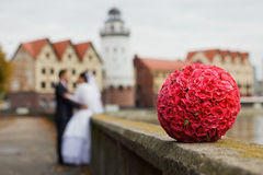 Beautiful wedding bouquet of red roses Stock Photo
