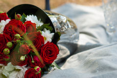 Beautiful wedding bouquet of red roses. In a bucket Royalty Free Stock Photography