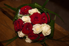 Beautiful wedding bouquet of red and white rose Stock Photography