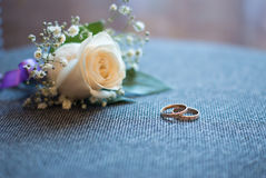 Beautiful wedding bouquet and rings Stock Image