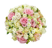 Beautiful wedding bouquet of roses and daisies. isolated Stock Photo