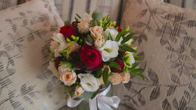 Beautiful wedding bouquet with roses stock video footage