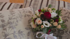 Beautiful wedding bouquet with roses stock footage