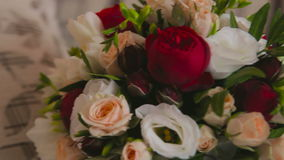 Beautiful wedding bouquet with roses stock video