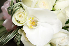 Beautiful wedding bouquet of roses and orchids Royalty Free Stock Image