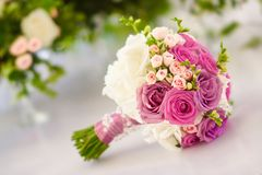 Beautiful wedding bouquet roses white and pink, hydrangea white. Beautiful wedding bouquet of roses white and pink e view Royalty Free Stock Photos