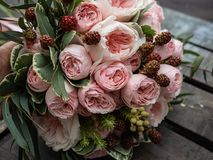 A bouquet of beautiful delicate flowers for a wedding. royalty free stock photo