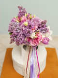 Beautiful wedding bouquet with spring flowers Stock Photo