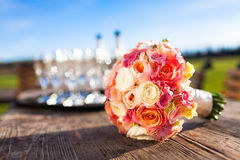 Beautiful wedding bouquet. On a table Royalty Free Stock Photos