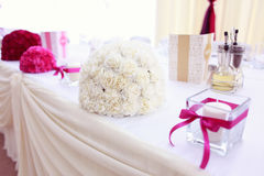Beautiful wedding bouquet on table Royalty Free Stock Photography