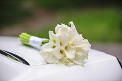 Beautiful wedding bouquet of white calla Stock Photo