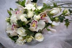 Beautiful wedding bouquet of white flowers Stock Photo