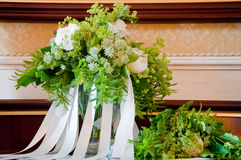 Beautiful wedding bouquet with white flowers and roses. Italy Stock Image