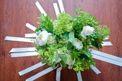 Beautiful wedding bouquet with white flowers and roses. Italy Royalty Free Stock Photo