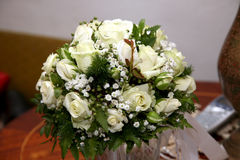Beautiful wedding bouquet from white roses Stock Photography