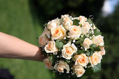 Beautiful wedding bouquet of white roses in the bride's hand Royalty Free Stock Photos