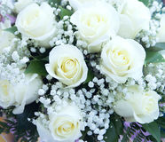 Beautiful wedding bouquet, white roses Royalty Free Stock Photo