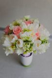 Beautiful wedding bouquet of white tulips and pink Stock Image