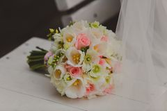Beautiful wedding bouquet of white tulips and pink Royalty Free Stock Photos