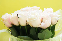 Beautiful wedding bunch of pale pink roses. Close-up Royalty Free Stock Photo