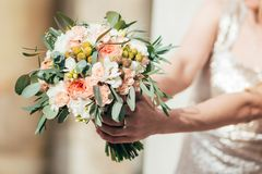 Beautiful wedding buoquet with roses royalty free stock photos