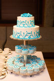 Beautiful wedding cake. With blue patterns Stock Image