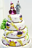 Beautiful Wedding cake decorated with knight and princess for pa Royalty Free Stock Photography